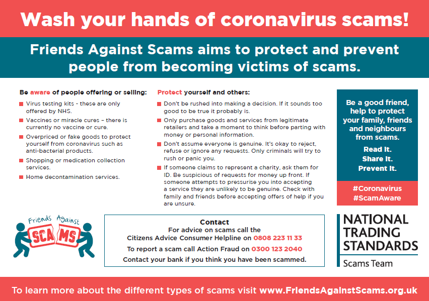 COVID-19 Friends Against Scams Poster